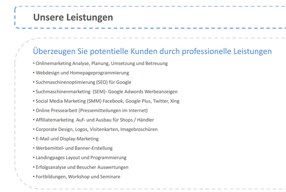 Übersicht Onlinemarketing Services