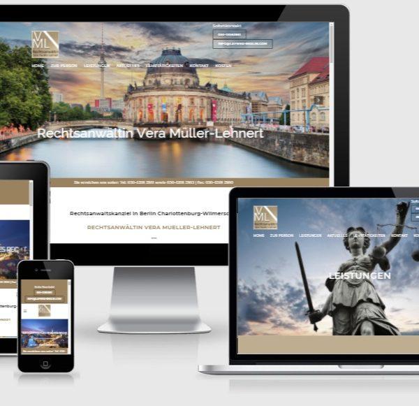 Wordpress Webdesign für Rechtsanwaltskanzlei Vera Mueller Lehnert in Berlin