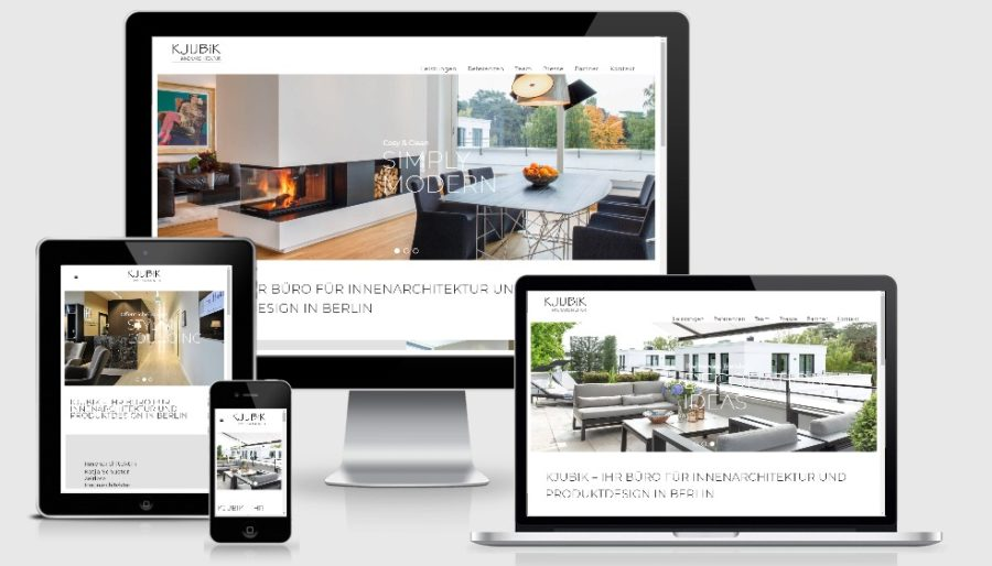 Modernes WordPress Webdesign - Innenarchitektur Kjubik Berlin