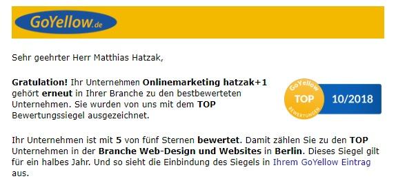 Ihr TOP Bewertungssiegel von GoYellow Onlinemarketinghatzak-Berlin