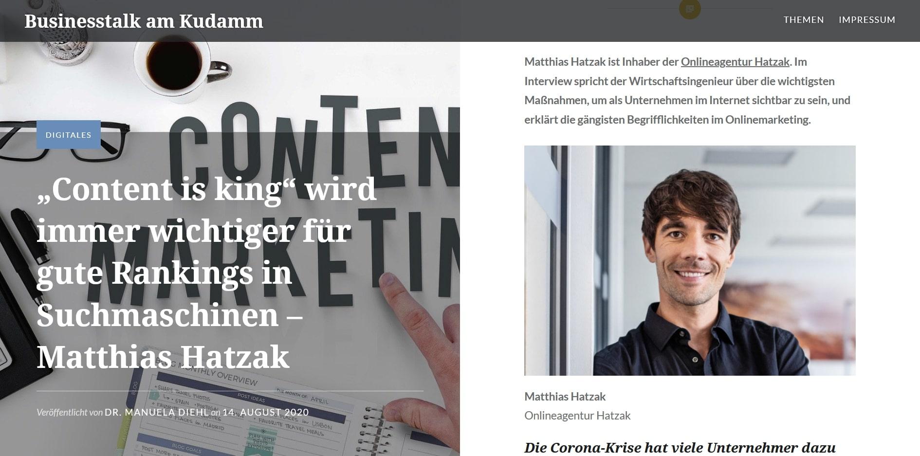 """""""Content is king"""" wird immer wichtiger für gute Rankings in Suchmaschinen - Matthias Hatzak Businesst[...]"""