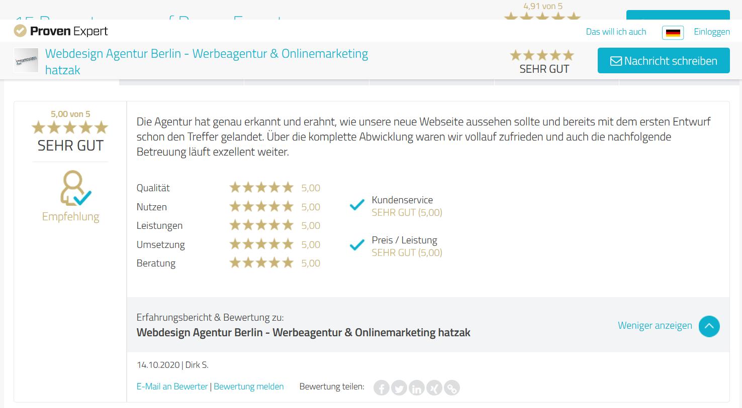 Proven Expert - WordPress Webdesign Berlin - BSS Baumaschinen