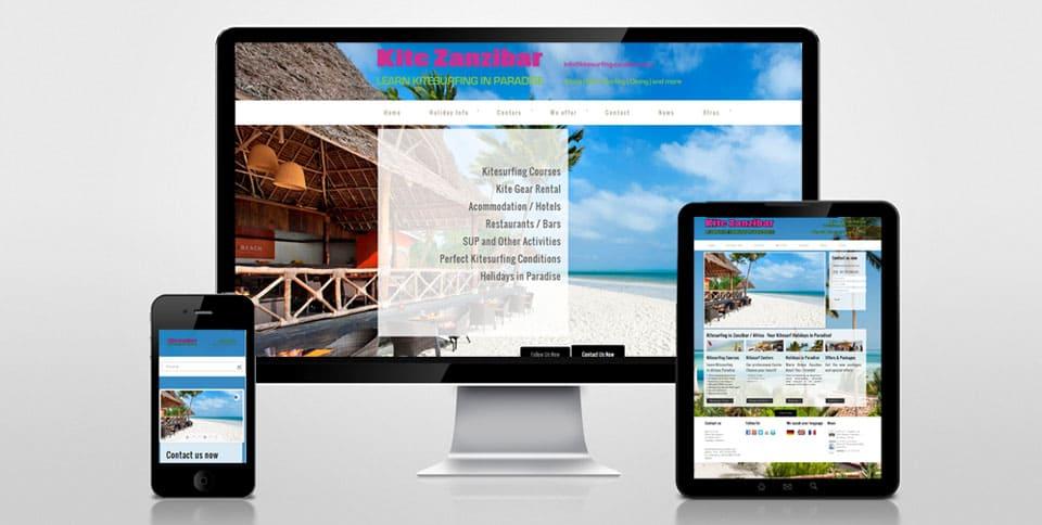 Webdesign Referenz Kitesurfing Zanzibar