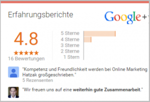 Google - gute Bewertungen - Onlinemarketing Agentur hatzak Berlin